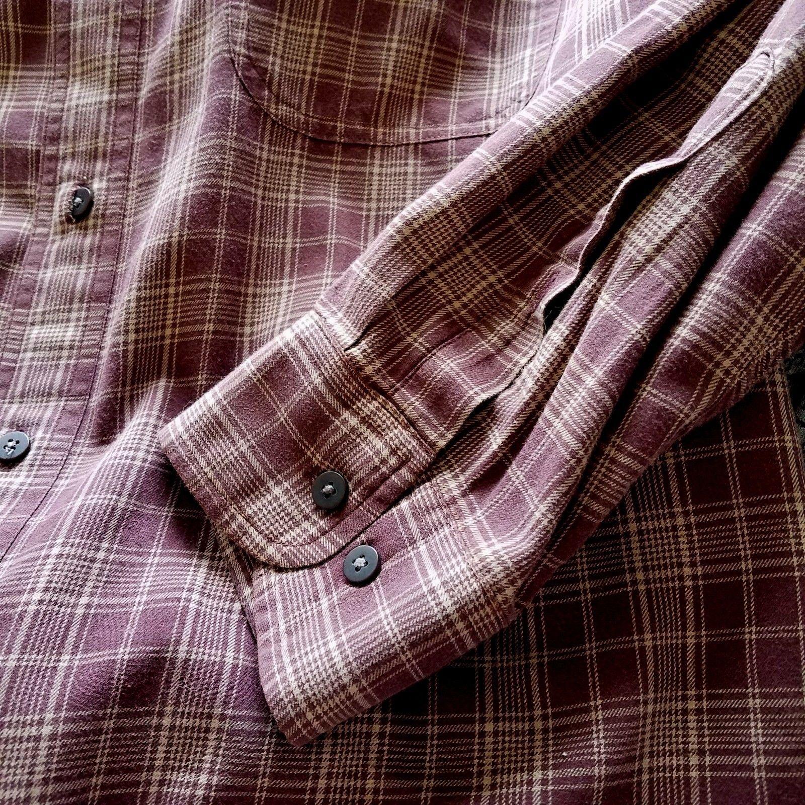 Timberland Brown Plaid Button Down Shirt Long Sleeve Lightweight Size Large