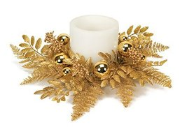 "Glittered Cedar Candle Ring W Ornaments 18""d Plastic (Fits 6""d Candle)"