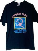 Vintage Cheer Up Mens T-Shirt Black Cotton Gods Grace Cotton M - $39.59
