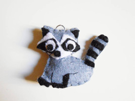 Racoon felt ornament or key chain. Stuffed anim... - $10.35