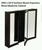 "30W x 26"" Surface Mount Tri-View Wood Mirrored Medicine Cabinet Espresso... - $108.97"