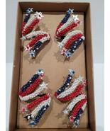 Storehouse Patriotic 4th of July Stars Red Blue Beaded Napkin Rings set ... - $36.62