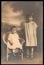 Antique Photograph Girls Sisters Studio Photography Button Boots Wicker ... - $12.99