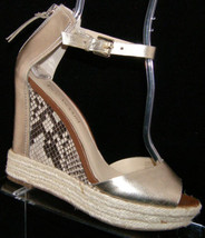 Enzo Angiolini 'Implosion' gold peep toe ankle strap platform wedges 8.5... - $30.53