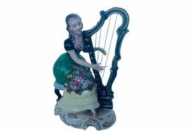 Dresden Antique Porcelain Figurine vtg Germany Victorian Harp ALL String... - $346.50