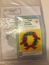 1998 Vtg Holly Wreath Cardinals Plastic Canvas Kit Holiday Decor Christmas - $22.43