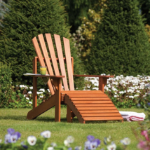 Garden Armchair Adirondack Sun Lounger Large Seat Solid Wood Pool Furnit... - $181.58