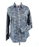 Talbots Size 18W Petite Navy Paisley Wrinkle Resistant Shirt Blouse NWT - $28.99