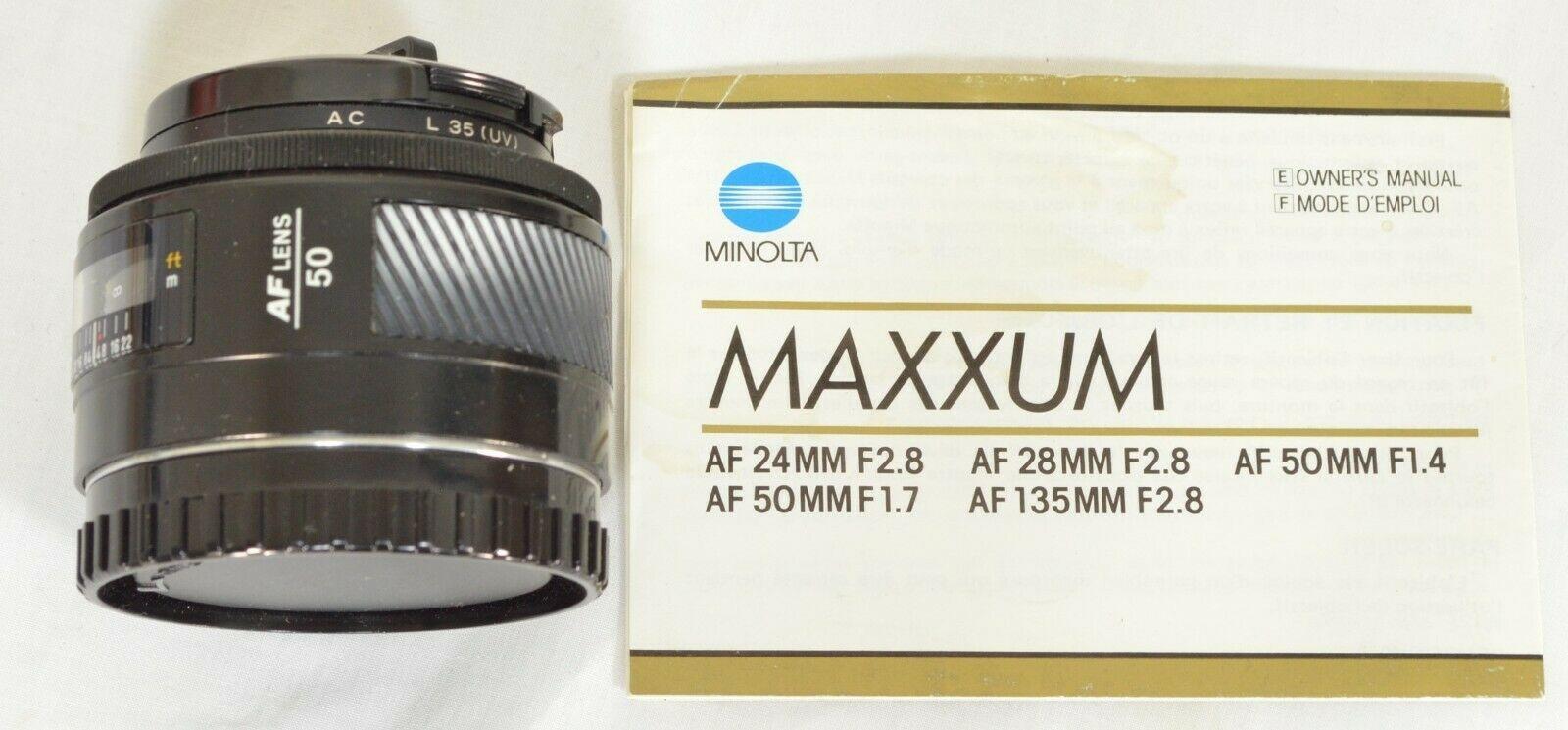 Minolta AF 50mm f/1.4 AF RS camera lens Sony Alpha A-mount image 2