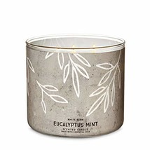 Bath & Body Works White Barn Eucalyptus Mint 3 Wick Scented Candle with Essentia