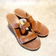 "Coach Womens Rosalyn  Sz 6 B Brown Leather 2 Strap Slide 3"" Wedge Sandals - $34.99"