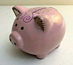 Pink Ceramic Piggy Bank Hand Decorated Rubber Plug - $6.32