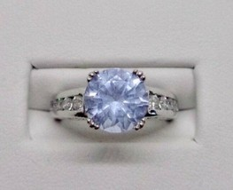 Signed SW Sterling Silver 925 Blue Topaz CZ Cubic Zirconia Ring Size 6 1/4 - $33.75