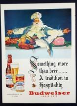 1950 Budweiser Christmas Santa Vintage Magazine Print Ad - $7.43