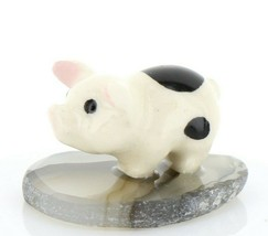 Stepping Stones Fairy Garden Miniature Tiny Pig on Sliced Quartz Base #2710