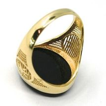 18K YELLOW GOLD BAND MAN RING, OVAL CABOCHON BLACK ONYX, COMPASS WIND ROSE image 4