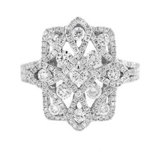 NEW GLK 14K WHITE GOLD 1.45CT DIAMOND CROSS RING SIZE 7 - $2,160.25