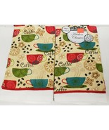 """2 SAME PRINTED COTTON KITCHEN TOWELS (15""""x25"""") COFFEE CUPS, GREEN, RED, ... - $10.88"""