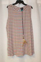 New Womens Plus Size 2X Indian Striped Tank Top Shirt With Cool Feather Necklace - $15.47