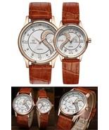 Romantic Pair Wrist Watches Ultrathin Leather For Couples Men Women Set ... - $62.02