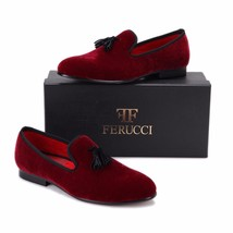 Handmade FERUCCI Burgundy Men Velvet Slippers loafers with Black Tassel - $129.99