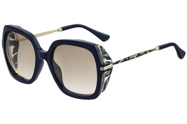 JIMMY CHOO JONA Blue Brown Floral Blinker Square Sunglasses JONA/S Authe... - $199.95