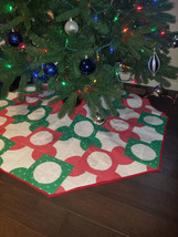 55 Inch Tree Skirt, Large Tree Skirt, Quilted Tree Skirt, Homemade Tree ... - $50.00