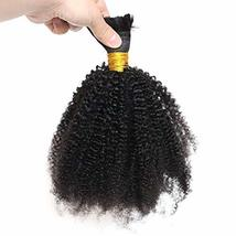 Afro Kinky Curly Human Hair Bulk No Attachment Mongolian Human Braiding ... - $120.78