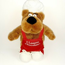 "Sid Bear I Looove Chocolate Talking Plush Bear 12"" Brown Plush Chef Russ Berrie - $19.80"