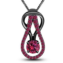 925 Silver Black Rhodium Plated Pink Sapphire Knot Style Pendant With 18 Chain - $83.99
