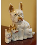VINTAGE JAPAN DOG PORCELAIN FIGURINE FRENCH BULL DOG MOMMY BABY PUPPIES ... - $39.99