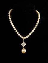 Wedding necklace - Pearl choker - rhinestone enhancer - edwardian style ... - $65.00