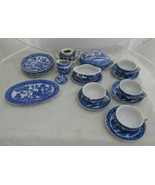 19 pc CHILDS TEA SET Blue Willow dinner plates creamer tureen gravy JAPA... - $75.23