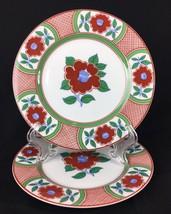 "Fitz Floyd Camellia Imari Red Floral Porcelain 2 Salad Plate 7.5"" 1980 - $25.75"