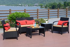 5 PC Rattan Wicker Sofa Set Cushioned Sectional Outdoor Garden Love Seat... - $339.99