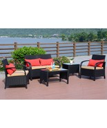 5 PC Rattan Wicker Sofa Set Cushioned Sectional Outdoor Garden Love Seat... - $359.98