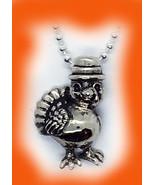 Thanksgiving Baby Turkey Silver Pendant - $135.58