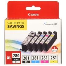 Canon PGI-280XL/CLI-281 5 Color Pack Compatible to TR8520, TR7520, TS9120 Series - $121.99