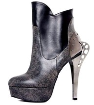 """Hades NOCTURNE Black & Distressed Stone Grey Ankle Boots 5"""" Metal Heel - $150.00"""