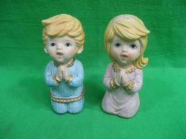Vintage Homco Ceramic Boy and Girl Figurines Praying #5211 - $9.46