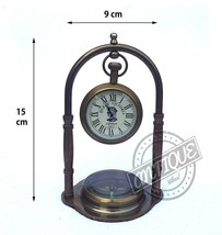 Antique Desktop Clock and Compass Nautical Lover Gift Grand Victorian Style Cloc - $36.44