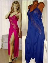 Lace Bodice Long Nightgown 1X 2X 3X 4X Nylon Blue Lingerie Slit - $22.00