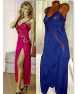 Lace Bodice Long Nightgown 1X 3X 4X Nylon Blue Lingerie Slit - $22.00