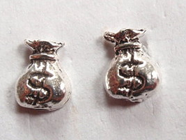 Money Bags $ Stud Earrings 925 Sterling Silver Corona Sun Jewelry cash rich - $3.47