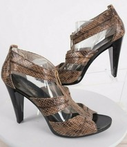 Michael Kors Berkley Womens Reptile Sandals Shoes 10 Heels T-Strap Zippe... - $69.29