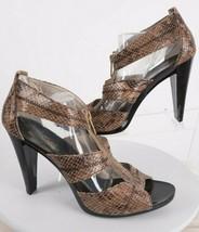 Michael Kors Berkley Womens Reptile Sandals Shoes 10 Heels T-Strap Zippe... - $69.29