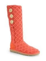 Ugg Australia Lattice Cardy Coral Pink Sweater Knit 9 M 1002483 Foldover Tall Ln - $62.99