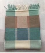 Morgan Taylor Wool Scarf with Fringe Plaid Multi-Color Teal Green Blue Tan - $13.96