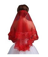 Elegant Red Lace Tulle Veil Women Wedding Bridal Veil - $15.24