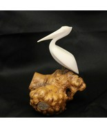 John Perry Pelican Sculpture Statue Bird On Burl Wood Nautical Decor Bea... - $68.55